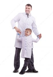 Set of lab coats for dad and son